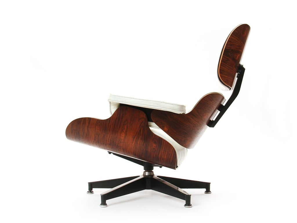 American White Leather Lounge By Charles Eames