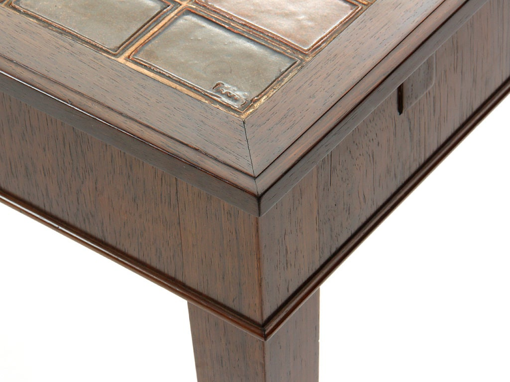 1930s Danish Rosewood and Tile Dining Table by Frits Henningsen For Sale 2
