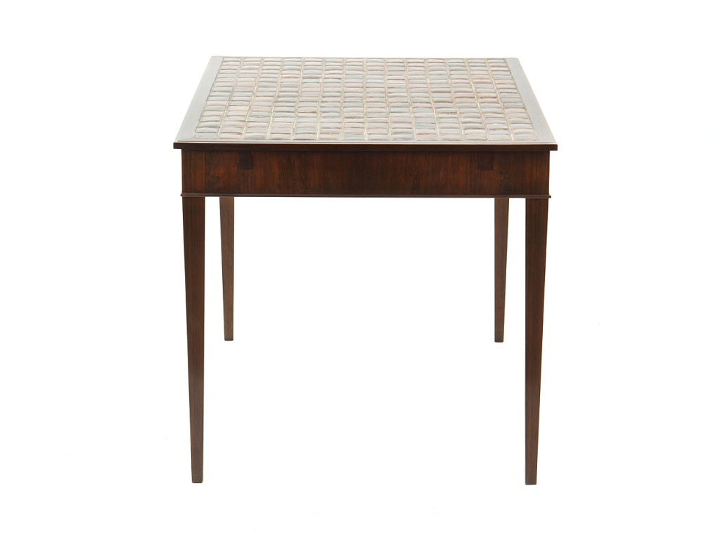 Mid-20th Century 1930s Danish Rosewood and Tile Dining Table by Frits Henningsen For Sale