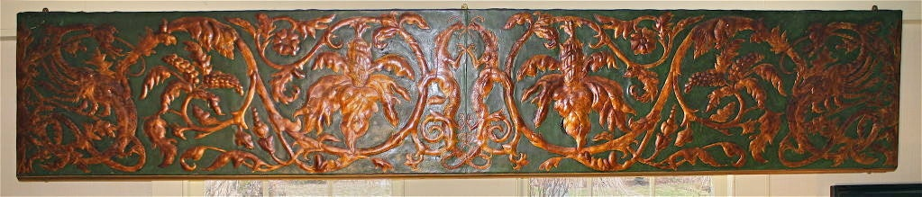 Hand tooled green leather valance panels, embossed and gilded Chinoiserie dragon and foliate designs; created for a large formal solarium. Total of 8 panels: six total 29 linear feet x 21 inches tall for use over windows, and two total 8 linear feet