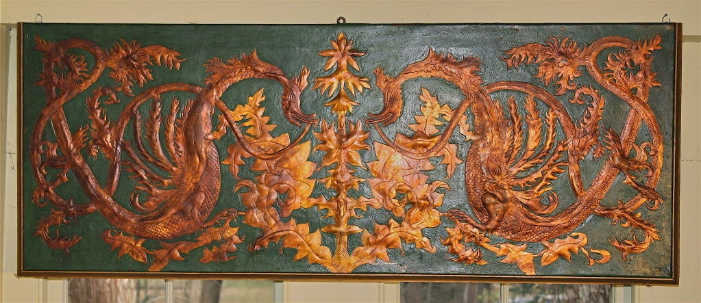British Set of 8 Chinoiserie Gilded Leather Valance Panels For Sale