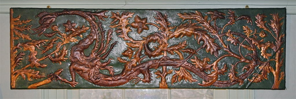 Set of 8 Chinoiserie Gilded Leather Valance Panels In Good Condition For Sale In Woodbury, CT