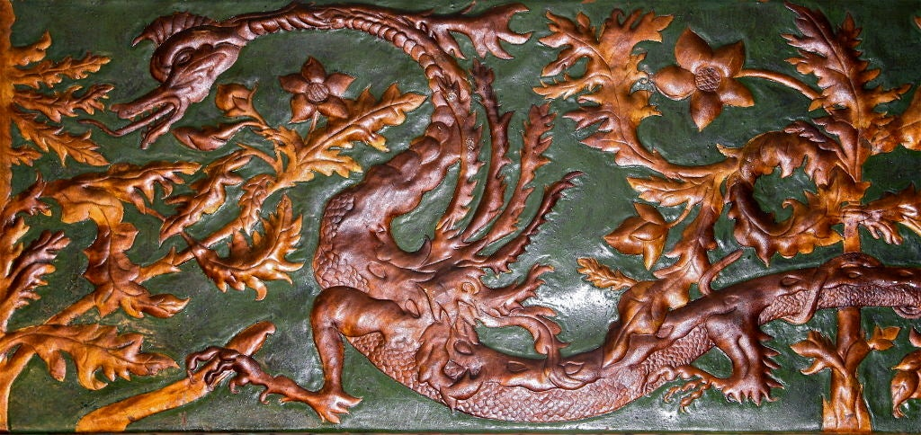19th Century Set of 8 Chinoiserie Gilded Leather Valance Panels For Sale