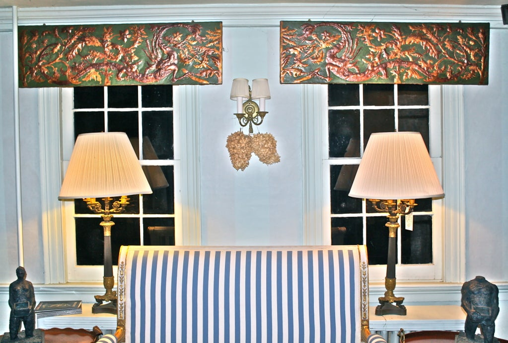 Set of 8 Chinoiserie Gilded Leather Valance Panels For Sale 2