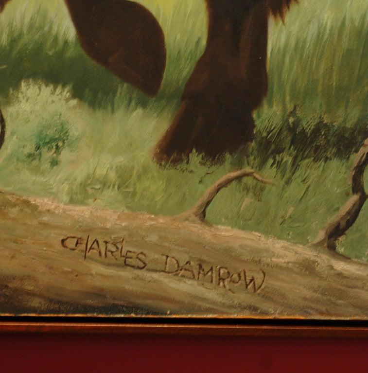 Rare Charles Damrow Oil Painting Buffalo At 1stdibs