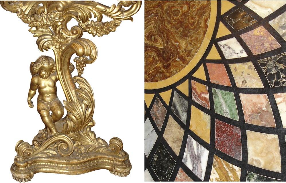 18th Century Italian Pietra Dura and Giltwood Specimen Table 5