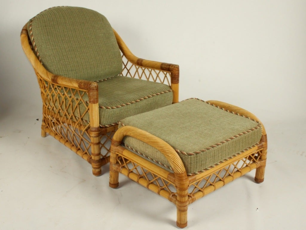 bielecky bros rattan lounge chair and ottoman two available at 1stdibs. Black Bedroom Furniture Sets. Home Design Ideas