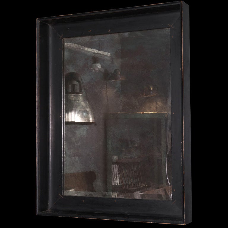 Large black framed mirror with distressed glass at 1stdibs for Tall glass mirror