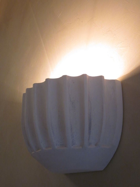 2 Pairs of French Mid-Century Modern / Art Deco Style Plaster Wall Sconces For Sale 3