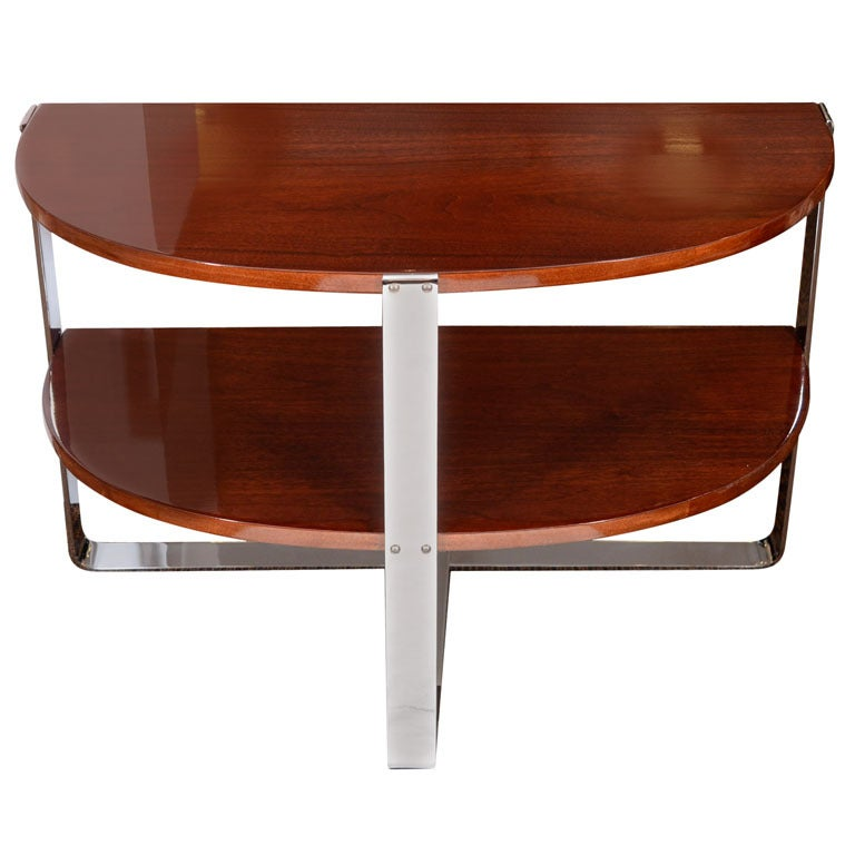 machine age half circle end table in the style of deskey at 1stdibs. Black Bedroom Furniture Sets. Home Design Ideas