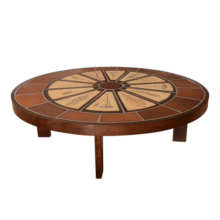 Oval Ceramic And Dark Stained Oak Coffee Table By Roger Capron At 1stdibs
