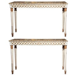 Pair of Marble Top Consoles by Jansen