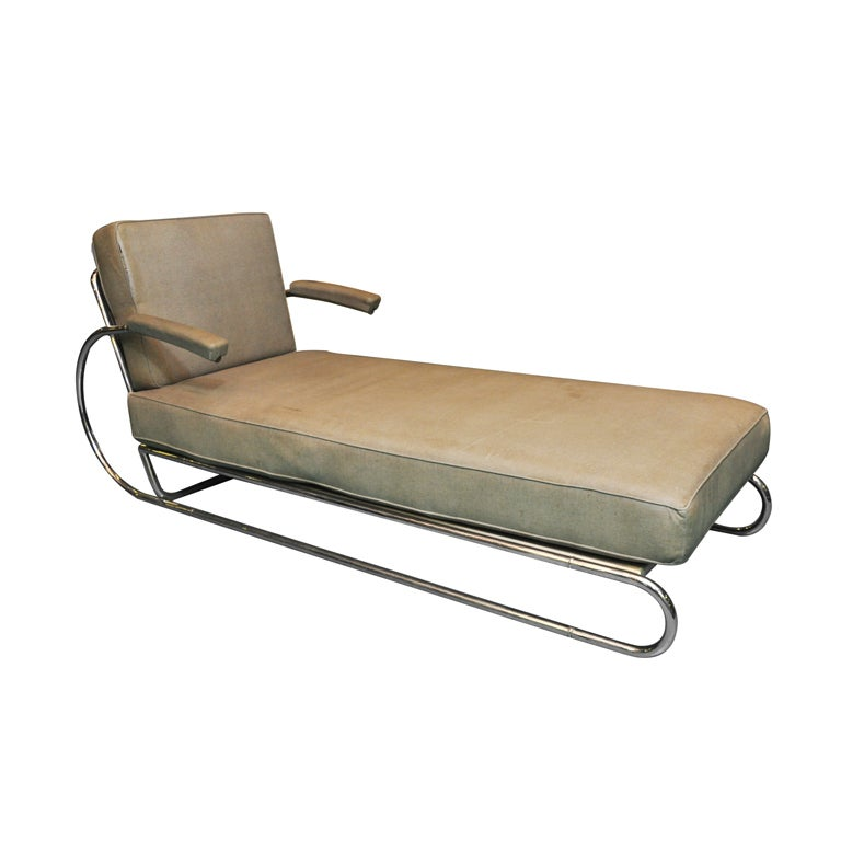 Art deco adjustable chrome chaise longue at 1stdibs for Chaise longue deco