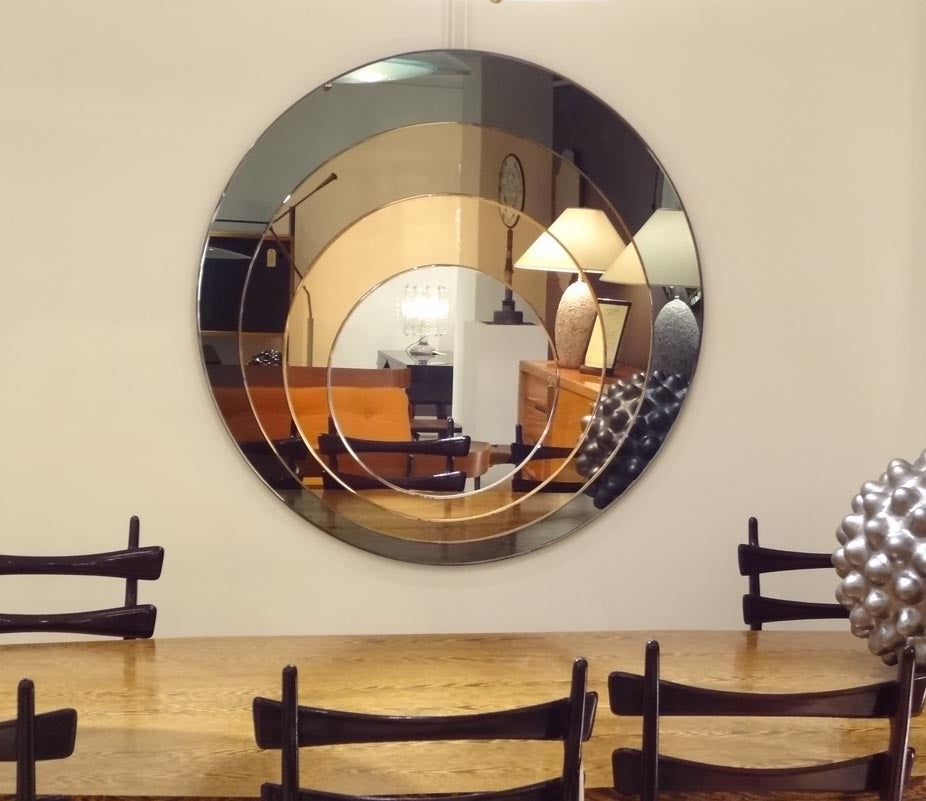 A large round four color wall mirror at 1stdibs for Big circle mirror