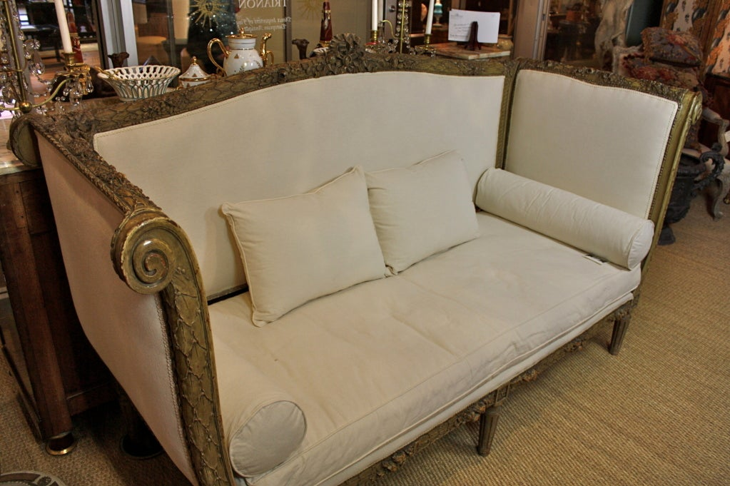 French Highly-Carved Louis XVI Style Sofa In Good Condition For Sale In Pembroke, MA
