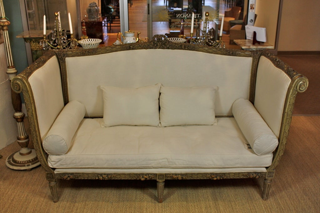 French Highly-Carved Louis XVI Style Sofa For Sale 1