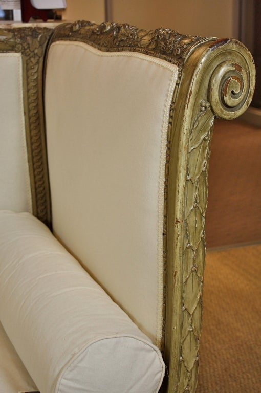 French Highly-Carved Louis XVI Style Sofa For Sale 2