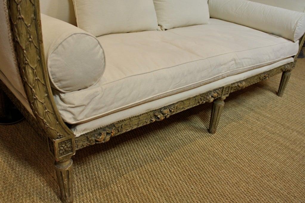 French Highly-Carved Louis XVI Style Sofa For Sale 4