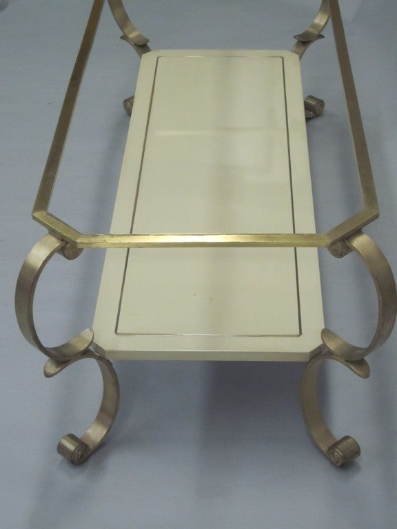 Bronze French MId-Century Modern Double Level Cocktail Table Attr. Maison Jansen For Sale