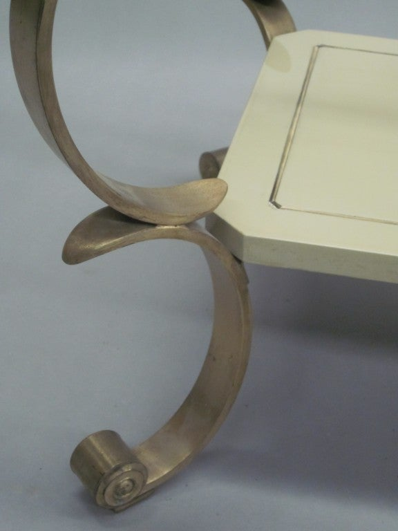 French MId-Century Modern Double Level Cocktail Table Attr. Maison Jansen For Sale 1