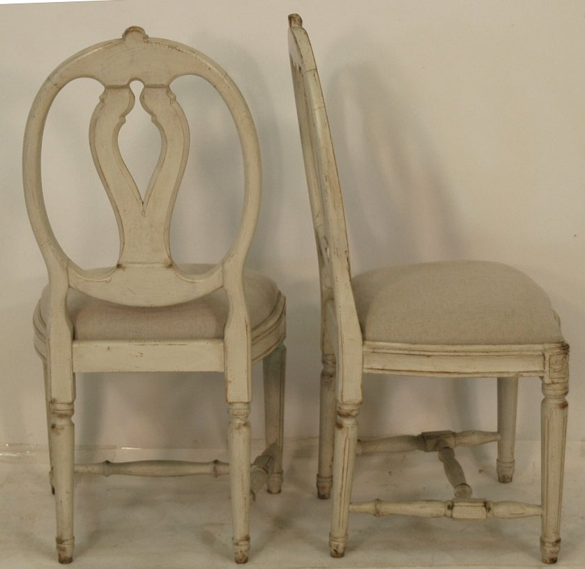 Swedish Painted Oval Back Dining Chairs At 1stdibs