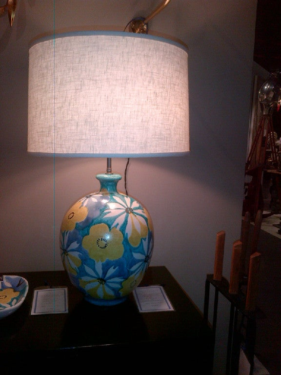 Italian Majolica Floral Table Lamp by Raymor 9