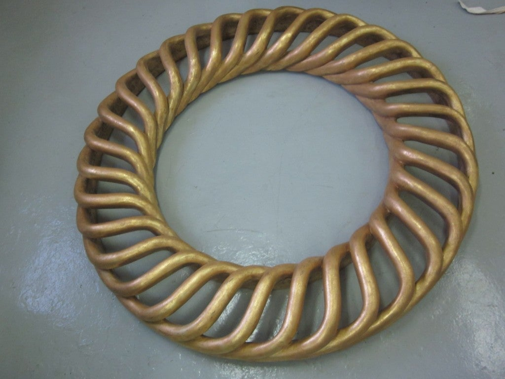 Mid-Century Modern 2 Large Round French Mid-Century Hand-Carved Gilt Wood Mirrors, 1940 For Sale