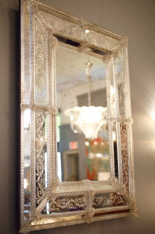 Vintage Venetian Glass Mirror at 1stdibs