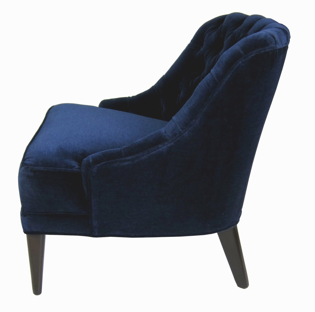 Pair of navy blue velvet tufted back lounge chairs image 3