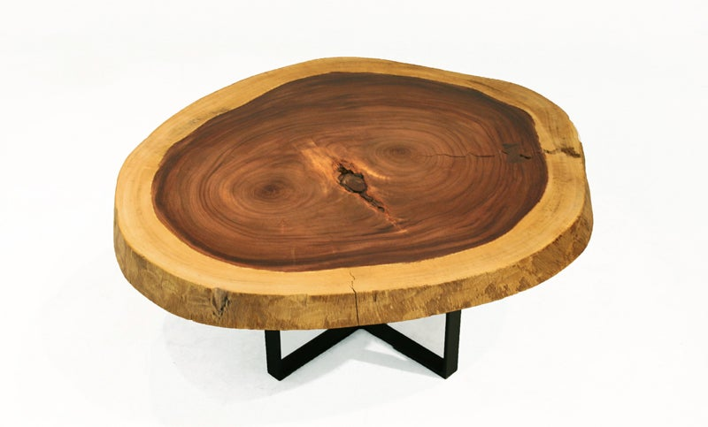 Solid Devils Ear Tree Round Coffee Table With Metal Base