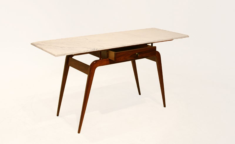 Solid Caviuna Console Table Or Desk With Marble Top At 1stdibs