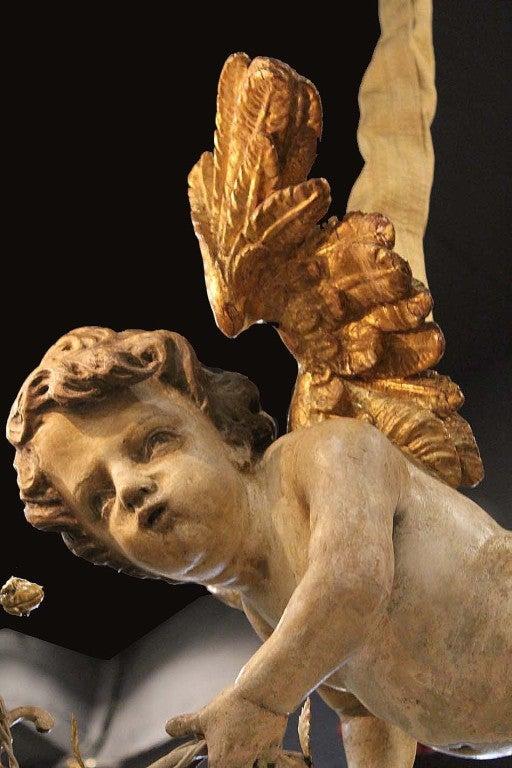 Unusual 18th Century Three-Light Italian Winged Angel Chandelier 4