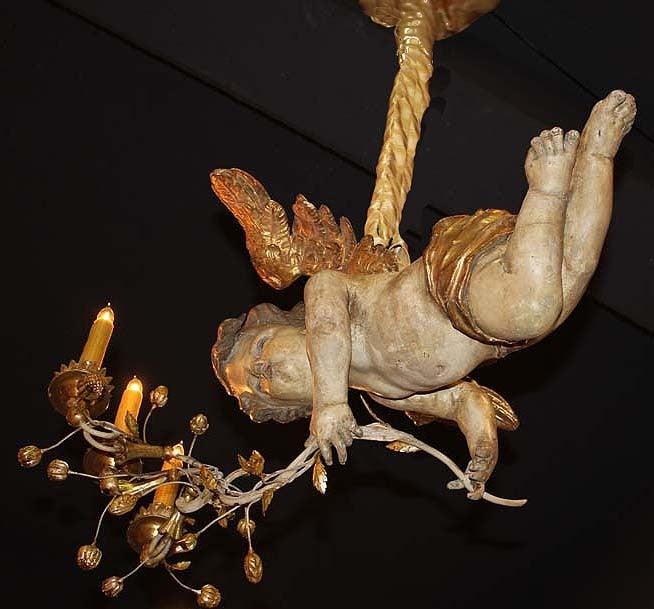 Unusual 18th Century Three-Light Italian Winged Angel Chandelier 6