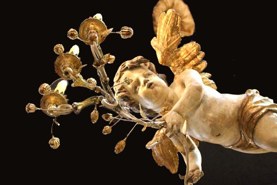 Unusual 18th Century Three-Light Italian Winged Angel Chandelier 8