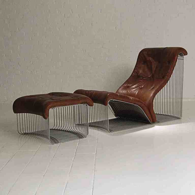 Chaise longue and stool design verner panton original leather at - Chaise panton blanche ...