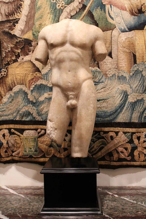 Large and Beautifully Sculpted First Century Ad Classical Roman Torso of an Athl 3