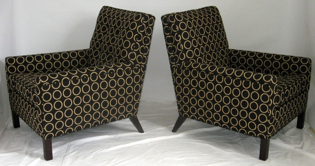 A pair of Classic and comfortable, deep seated club chairs by T.H. Robsjohn-Gibbings for Widdicomb originally purchased in 1954. 