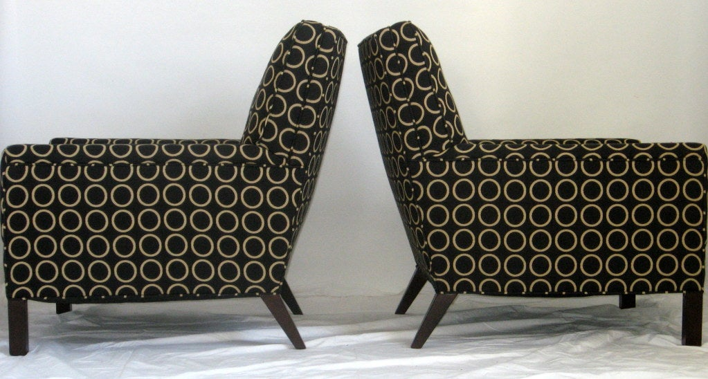 Upholstery Pair of Lounge Chairs by T.H. Robsjohn-Gibbings, 1954 for Widdicomb For Sale