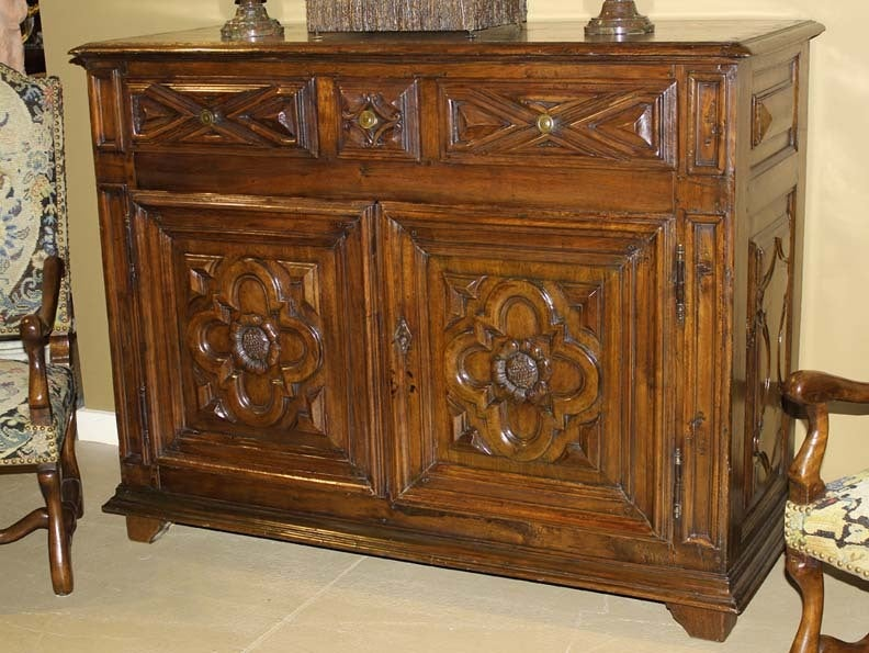18th Century Geometric Italian Walnut Credenza and Sideboard Cabinet 2
