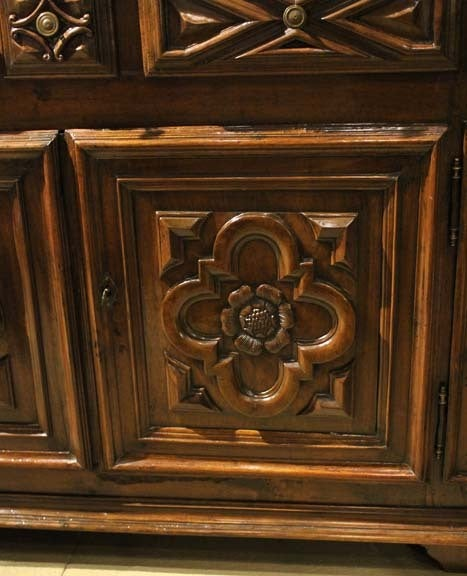 18th Century Geometric Italian Walnut Credenza and Sideboard Cabinet 8