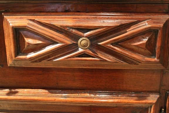 18th Century Geometric Italian Walnut Credenza and Sideboard Cabinet 7