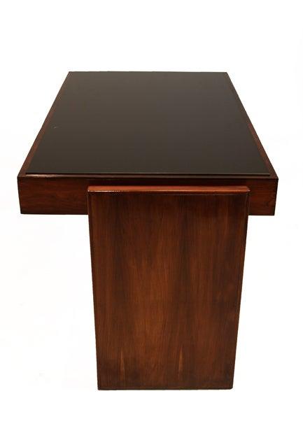 Rosewood and black glass desk by Joaquim Tenreiro image 3