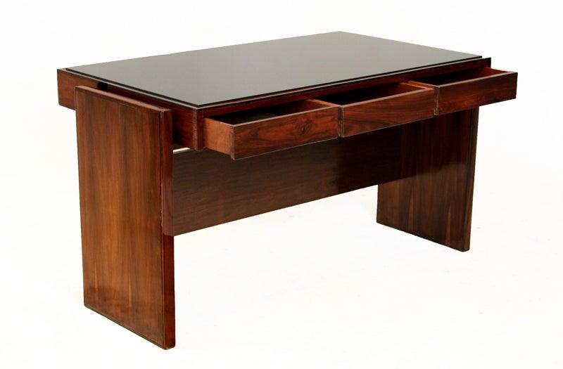 Rosewood and black glass desk by Joaquim Tenreiro image 5