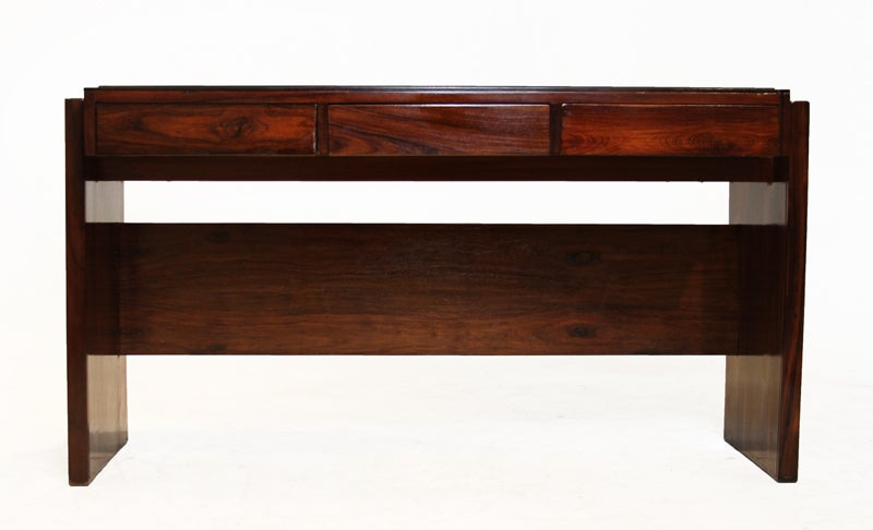 Rosewood and black glass desk by Joaquim Tenreiro image 6
