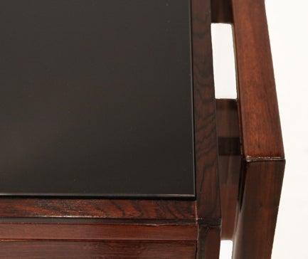 Rosewood and black glass desk by Joaquim Tenreiro image 7