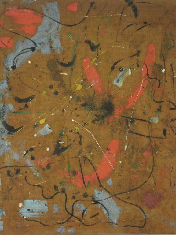 Mid-Century Modern Large Flemish Midcentury Abstract Expressionist Painting by A.C. Hermkens, 1961 For Sale