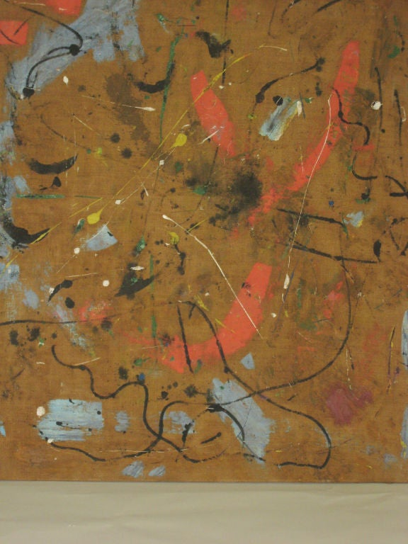 Belgian Large Flemish Midcentury Abstract Expressionist Painting by A.C. Hermkens, 1961 For Sale