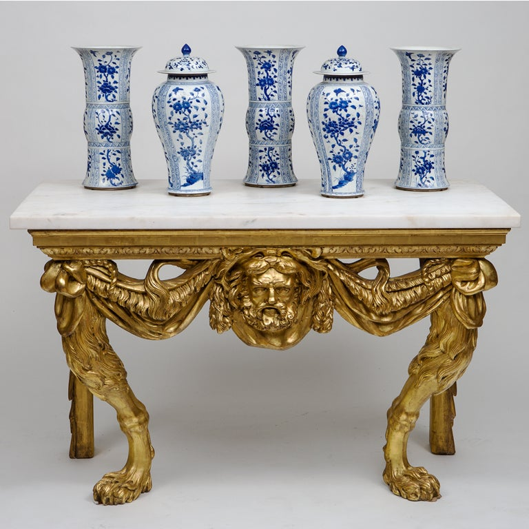 19th Century Giltwood Table with Later Marble Top, after William Kent 6