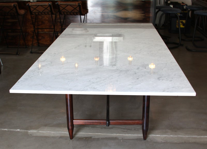 Solid rosewood dining table with marble top by sergio for Marble top dining table