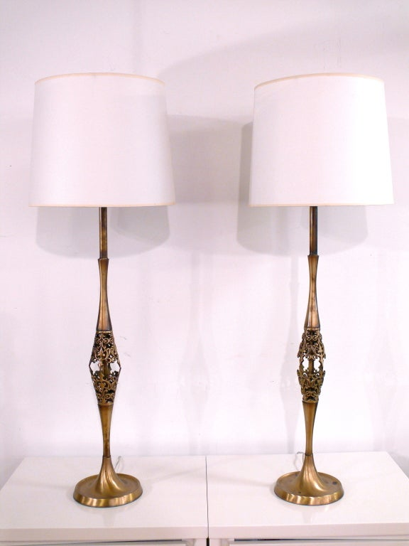 Brass lamps.